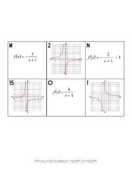 Graphing Rational Functions Memory Game or Card Sort