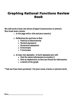 Graphing Rational Functions Review Book