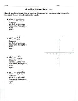 graphing rational functions worksheet - Graphing Rational Functions Worksheet