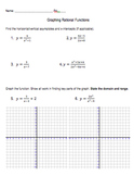 Graphing Rational Functions Worksheet Handout