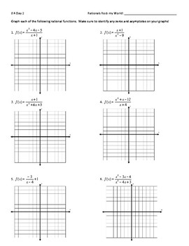 Graphing Rational Functions Worksheet (including Point Discontinuity) + Key