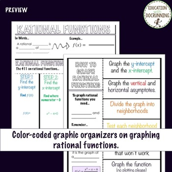PreCalculus Graphing Rational Functions Color-Coded Notebook