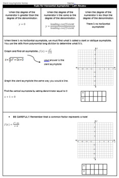 Graphing Rational Functions with Slant Asymptotes Guided Notes and HW