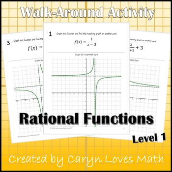 Graphing Reciprocal Function Rational Equations Walk Around Activities