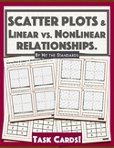 Scatter Plots: Comparing Linear vs. NonLinear Relationships Task Cards