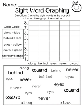 Graphing Sight Words Unit 5. Reading Street. First Grade.