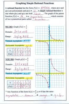 Graphing Simple Rational Functions Notes (Foldable)
