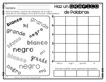 Spanish Sight Words Graphing (Pre-Primer)