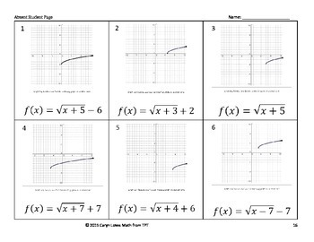 Graphing Square Root Function Walk-around Activity-Level 1~Translations