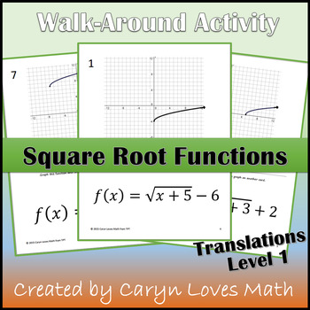 Graphing Square Root Function Walk-around Activity-Level 1