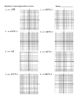 Graphing Square Root Functions Worksheet~Key~Shifting~Reflections~Dilation