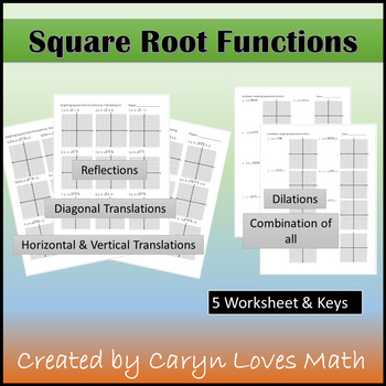 Graphing Square Root Functions Worksheet~Key~Shifting~Refl