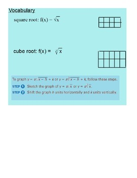 Graphing Square Root and Cube Root Functions SmartBoard Lesson