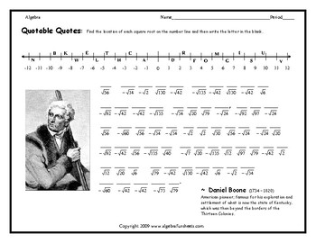 Real Numbers on a Number Line (Square Roots) Worksheet