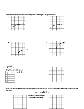 Graphing Square and Cube Root Functions - Notes