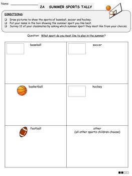 Graphing - Summer Sports Tally and Graph FREEBIE (Differentiated Activities)