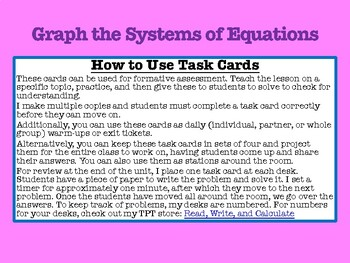 Graphing Systems: Task Cards