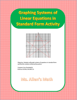 Graphing Systems in Standard Form Activity