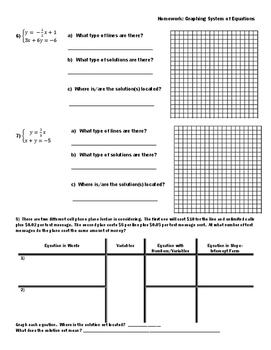 Graphing Systems of Equations Homework