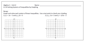 Graphing Systems of Equations & Inequalities Lesson Plan Bundle