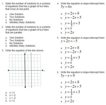 Graphing Systems of Equations Questions Bank BNK Go Math for ExamView