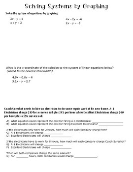 Graphing Systems of Equations Notes
