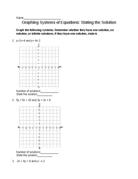 Graphing Systems of Equations: State the Solution