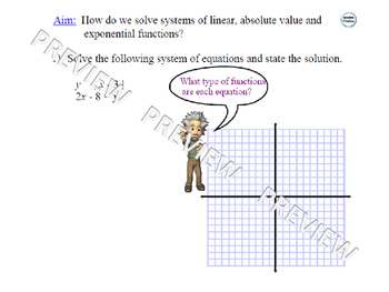 Graphing Systems of Functions (Linear, Absolute Value, Exponential)