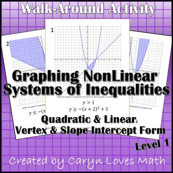 Graphing Systems of Inequalites (Quadratic/Linear)  Walk-Around Activity