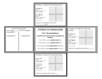 Graphing Systems of Inequalities: Foldable