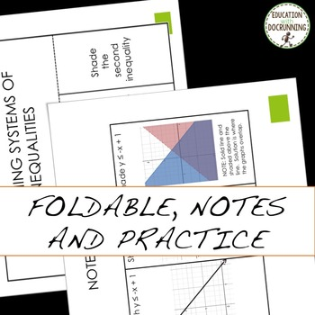 Graphing Systems of Inequalities Interactive Notebook Foldable
