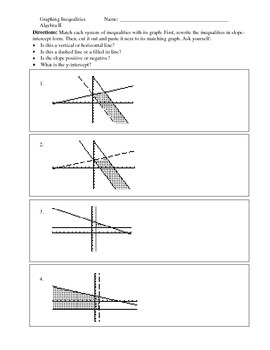Graphing Systems of Inequalities - A Matching Cut-and-Paste Activity