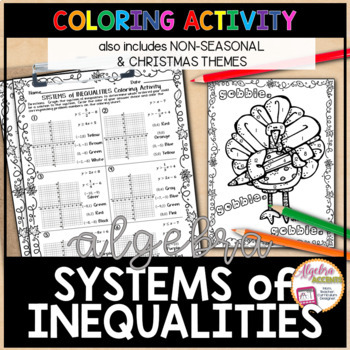 Graphing Systems Of Linear Inequalities Christmas Algebra Coloring