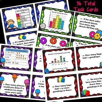 Graphs Task Cards & M&Ms Fun (Tally Charts, Picture/Bar Graphs, Line Plots)
