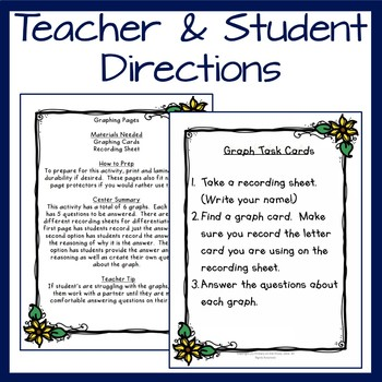 Graphing Task Pages- Printable and Digital- Sunflower and Scarecrows