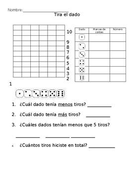 Graphing: Tira el dado (Spanish)