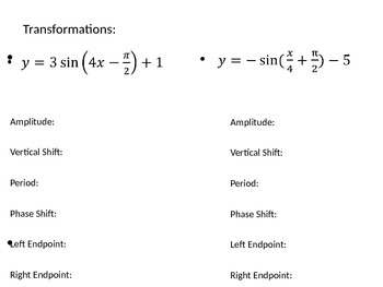 Graphing Trig Functions Powerpoint