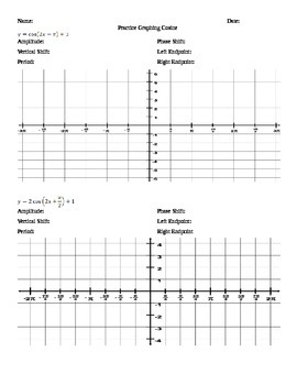 graphing trig functions worksheets - Graphing Trig Functions Worksheet