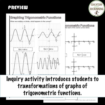 Graphing Trigonomentric Functions Sine and Cosine Color Interactive Notebook