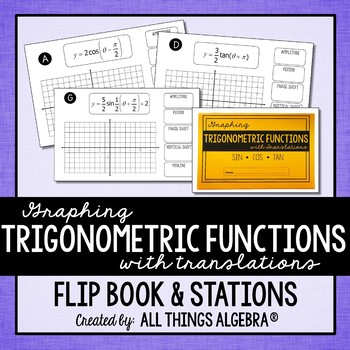 Graphing Trigonometric Functions (Sin, Cos, Tan) with Translations Flip Book