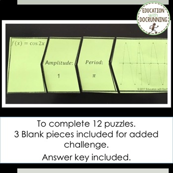 Graphing Trigonometric Functions Sine and Cosine Puzzle for PreCalculus