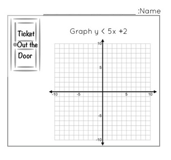 Graphing Two Variable Inequalities - Ticket out the door