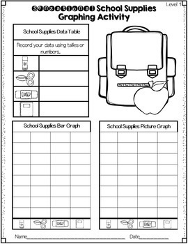 Graphing Unit: Back To School Graphing