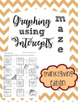 Graphing Using Intercepts Maze- Thanksgiving Edition