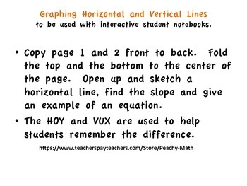 Graphing Vertical and Horizontal Lines Foldable