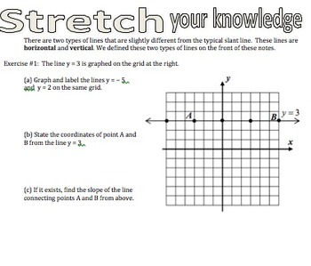 Graphing Vertical and Horizontal Lines Notes, Practice, and Exit Ticket