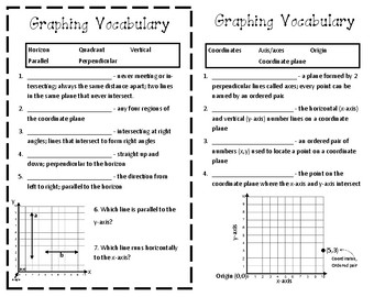 Graphing Vocabulary Journal Entry (5th Grade)