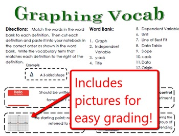 Graphing Vocabulary for Interactive Notebooks