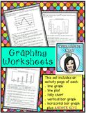 Graphing Worksheet Pages (bar graphs, line graphs, line pl