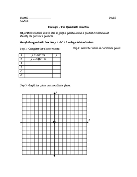 Graphing a Parabola from a Quadratic Function
